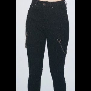 High Rise Chain Embellished Skinny Jeans